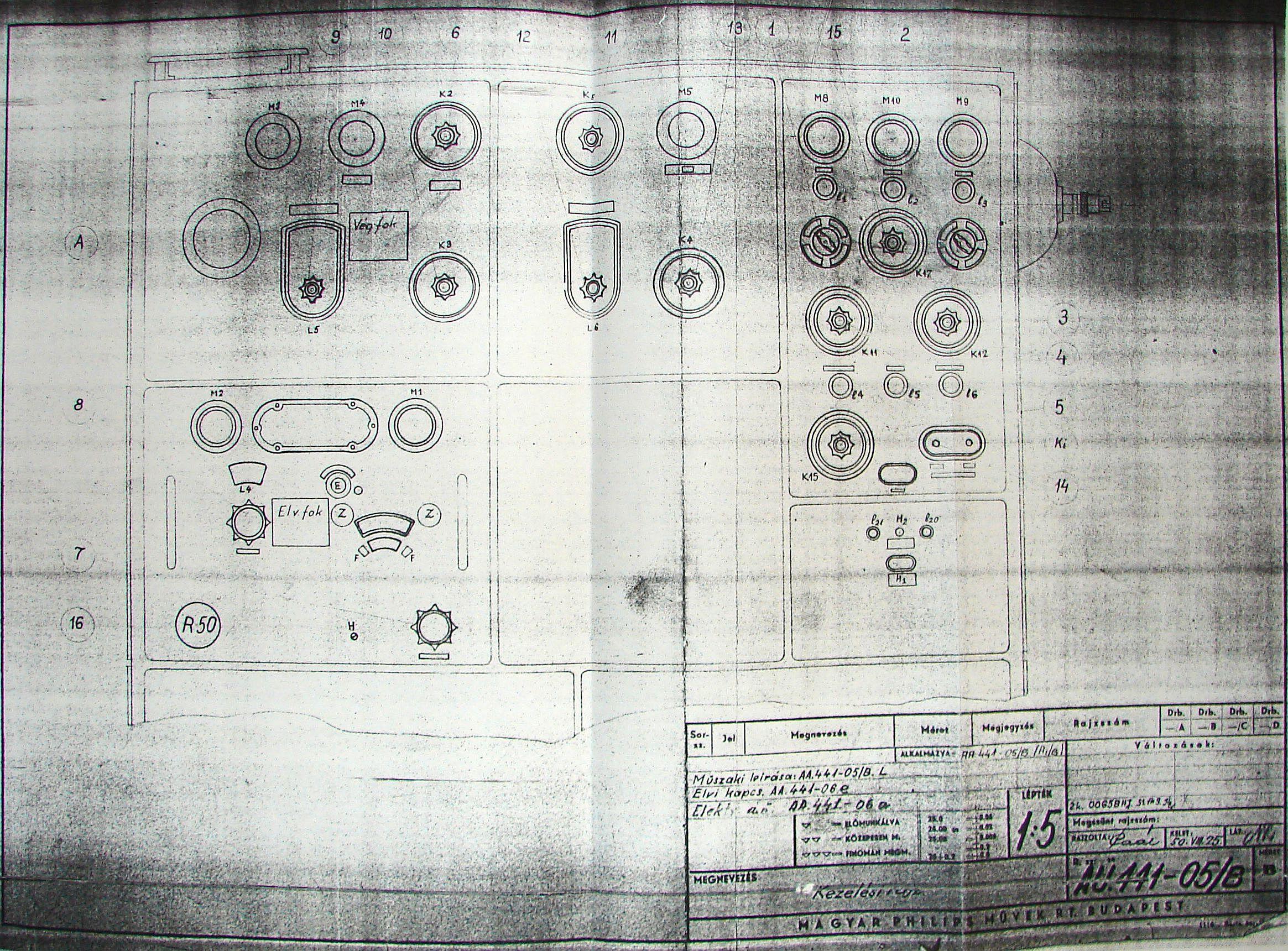 R-50 fiók egységek elhelyezése.